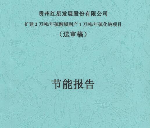 贵州红星发展股份有限公司《扩建2万吨/硫酸钡副产1万吨/年硫化钠》项目